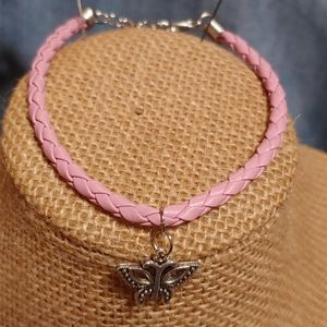 Pink leather adjustable braided cord bracelet